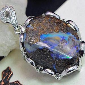 メキシカン ブルー オパール ペンダント ネックレス パワーストーン 天然石 誕生石40mm ai-fujinomiya