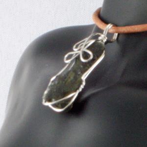 モルダバイト 隕石 ワイヤーラップ ペンダント ネックレス パワーストーン 天然石3 ai-fujinomiya