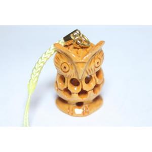 木彫り みみずくinみみずくストラップ|ai-inori