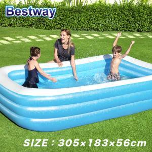 プール ビニールプール ファミリープール 大型 295×161cm 2気室 クッション性 水あそび レジャープール 家庭用プール ###プール0291-2NPF###|ai-mshop