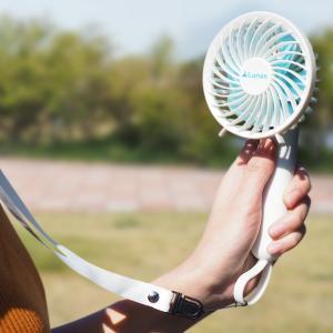 扇風機 ハンディ ハンディファン ネックストラップ付 USB充電 軽量 薄型 ポータブル扇風機 ミニ...