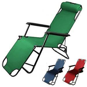 リクライニングチェア 全長150cm アウトドア 椅子 折りたたみ ヘッドレスト 肘掛け付き リクラ...