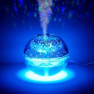 加湿器 空気清浄機 USB 星空 クリスタル プロジェクター 乾燥 500ml ###加湿器A99銀★###|ai-mshop