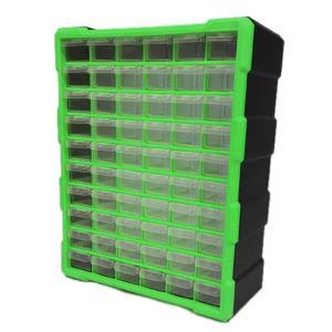 パーツボックス ツールボックス 工具箱 パーツケース 引き出し 60個 小物収納 キャビネット ###工具箱PB003緑###