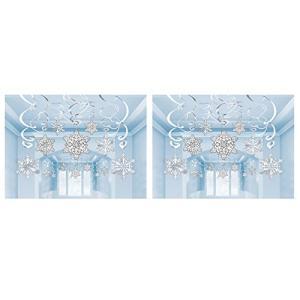2のセット30?Amscanスノーフレーク旋回Hanging Decorationsバンドルby Maven Gifts|aiba