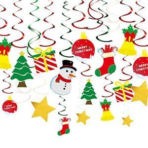 KUUQA 34ピース クリスマス吊り下げスワールデコレーションキット シーリングスワールデコレーション クリスマスツリー 雪だるまソックス ギフトボ aiba