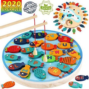 CozyBomB Magnetic Wooden Fishing Game Toy for Toddlers - Alphabet Fish Catc aiba