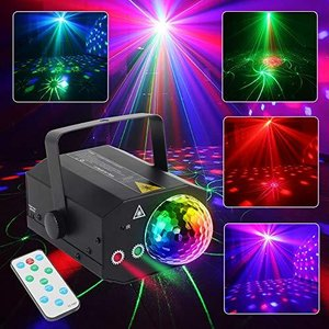 CHINLY Party Laser Lights 2 Lens+1 RGB Ball DJ Disco Stage Light Sound Acti aiba