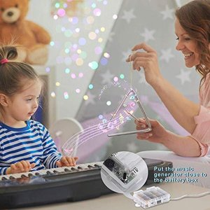YOZATIA 32.8ft Sound Activated Music LED String Lights, Waterproof Silver W|aiba