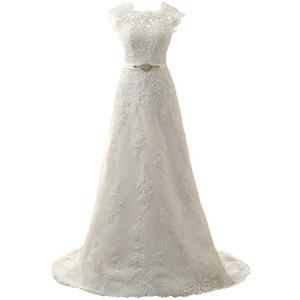 JAEDEN Wedding Dress Lace Bridal Dresses with Crystal Sash Wedding Gown A L aiba