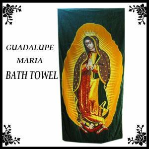 マリアバスタオル(グリーン) ビーチタオルにも!メキシコの聖母グアダルーペデザイン アメリカ直輸入品!GUADALUPE MARIA|aicamu