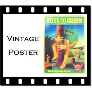 ヴィンテージ風ポスター「m&m's vote green」縦:約36.5cm×横:約26cm m&m'sグッズ aicamu