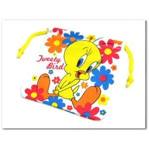 トゥイーティーバードの巾着袋 保育園 幼稚園のコップ袋にきんちゃくポーチ tweetybirdカートゥーンネットワーク ネコポス発送可能|aicamu