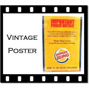 ヴィンテージ風ポスター「BURGER-BEING」縦:約36.5cm×横:約26cm 紙ポスターインテリア バーガーキングパロディポスターアメリカン雑貨|aicamu
