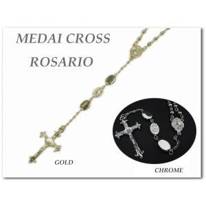 オーバルメダイ クロスロザリオ 全2色(ゴールド/クローム)十字架ネックレス/maria/rosario ネコポス発送可能|aicamu