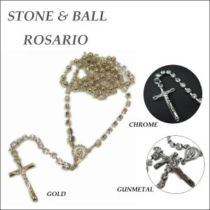 キラキラストーン&ボールロザリオ 全3カラー(ゴールド/クローム/ガンメタ)十字架ネックレス maria rosario ネコポス発送可能|aicamu