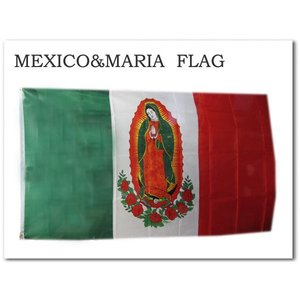 【メキシコ×マリア フラッグ】 MEXICO国旗MARIA 縦:約90cm 横:約150cm バナータペストリー インテリアに!★ネコポス発送可能★|aicamu