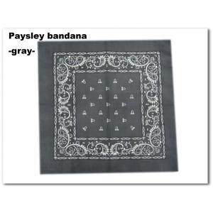 【ペイズリー柄バンダナ(グレー)】paysley bandana gray★ネコポス発送可能★|aicamu