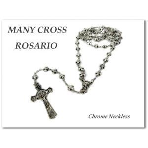 メニークロスロザリオ クローム 十字架ネックレス maria ネコポス発送可能|aicamu