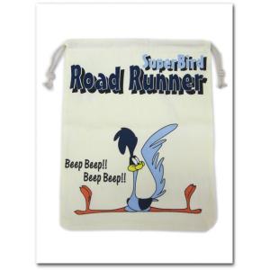 ロードランナーの巾着袋(Lサイズ) RoadRunner 入学準備 園児に必須のきんちゃく袋 学校の給食袋、体操服入れにも調度いい ネコポス発送可能|aicamu