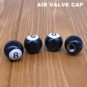 エアバルブキャップ【エイトボール】 4個ワンセット汎用で車・バイクの空気入れバルブに簡単装着!8ボール型オートパーツ|aicamu