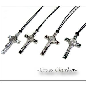 クロスチョーカーSMALL #003(全4色)十字架ネックレス mariaマリア 長さ調節可能 ネコポス発送可能|aicamu