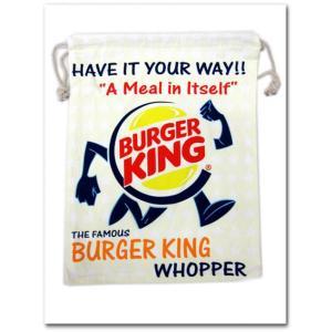 BURGER KINGの巾着袋(Lサイズ) バーガーキング 園児に必須のきんちゃく袋!学校の給食袋、体操服入れにも調度いい 入園入学 ネコポス発送可能|aicamu