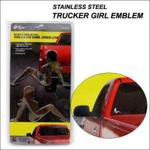 クロームレディ ステンレススチールエンブレム シンディ プレートシール STAINLESS STEEL TRUKER GIRL EMBLEM ネコポス発送可能|aicamu