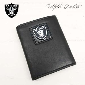【RAIDERS 3つ折りレザー財布 箱入り】NFLレイダース公式ライセンス商品本格レザーウォレット|aicamu