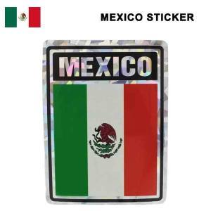 メキシコ国旗柄 キラキラステッカー(四角) MEXICO国旗シール★ネコポス発送可能★|aicamu