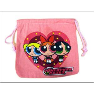 【パワーパフガールズ 巾着袋(ピンク)】 ご入園準備、園児にきんちゃく袋!コップ入れにも|aicamu