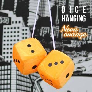 ルームミラーハンギングふわふわダイス(ネオンオレンジ)アメリカ直輸入サイコロカーアクセサリーオートパーツファジーダイスorange橙|aicamu