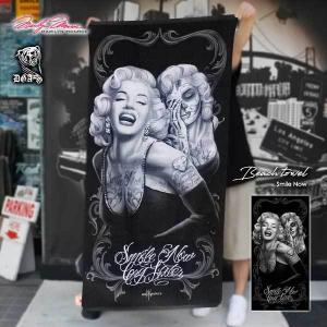 【マリリンモンロー ビッグバスタオル(ツーフェイス)156cm×76.5cm】Marilyn Monroe アメリカ直輸入 タオルケット肌掛けビーチ海プールアウトドアにも|aicamu