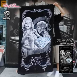 【マリリンモンロー ビッグバスタオル(DIAMOND ARE FOREVER)156cm×76.5cm】Marilyn Monroe アメリカ直輸入 タオルケット肌掛けビーチタオル アウトドアにも|aicamu