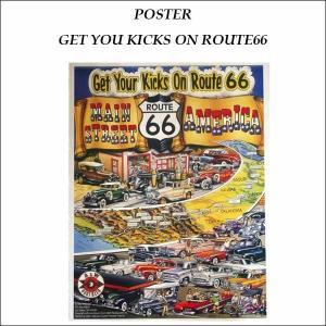 ポスター「ROUTE 66」縦:約54cm×横:約42cm アメ車インテリアインパラ ベルエア サンダーバード イラスト紙ポスター|aicamu