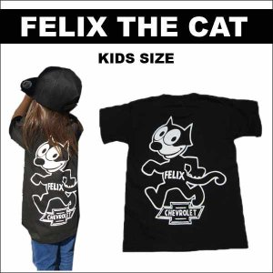 FELIX×CHEVROLET キッズTシャツ 130/140サイズ  フィリックス ザ キャット グッズ シボレー 子供用半袖 ローライダー ネコポス発送可能|aicamu