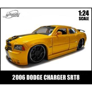 ミニカー 1/24 箱入り 2006 DODGE CHARGER SRT8 ブラックスポーク イエロー ダッジチャージャー アメ車|aicamu