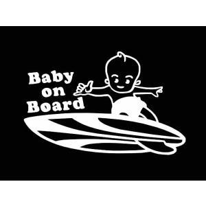 ステッカー SURF BABY ON BOARD(BOY)(全7色/左右あり)車 バイク アメリカン サーフハワイデカールセーフティーカッティング|aicamu