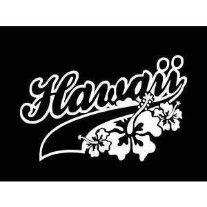 ステッカー HAWAII LOGO(ハイビスカス)(全6色)車 バイク アメリカン サーフハワイデカールカッティング|aicamu