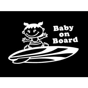 ステッカー SURF BABY ON BOARD(GIRL)(全7色/左右あり)車 バイク アメリカン サーフハワイデカールセーフティーカッティング|aicamu