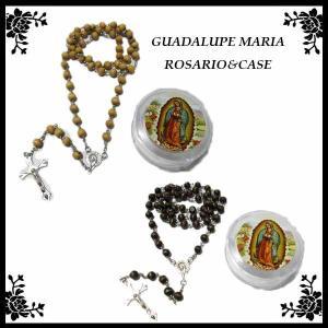 グアダルーペマリア クリアケース付き ウッドロザリオ 全4カラー 十字架ネックレス maria マリア様 雑貨 メキシコ雑貨 マリアグッズ|aicamu