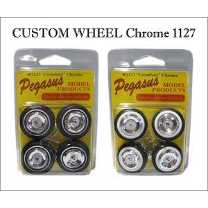 1:24/1:25 カスタムパーツ クロスバー ホイール&タイヤ クローム #1127 全2種類 ミニカーをオリジナルカスタム Pegasus社製|aicamu