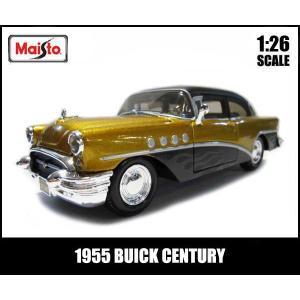 1/26 箱入り ダイキャスト ミニカー【1955 BUICK CENTURY(ゴールド/マットブラ...