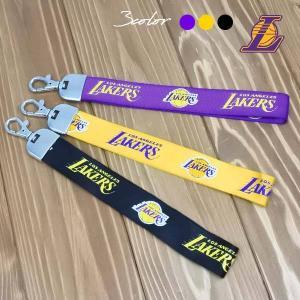 LAKERS リボンキーホルダー 全3色 NBAロサンゼルスレイカーズフックキーリング/キーチェーン ネコポス発送OK|aicamu