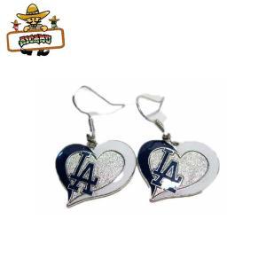 ドジャースLAゆらゆらピアス(ハート)MLB L.A. DODGERSロサンゼルスLOSANGELES ネコポス発送可能 aicamu