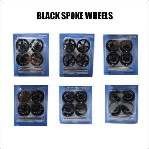 #03 カスタムパーツ ブラックスポークホイール&タイヤ(直径約4cm 全6タイプ) ミニカー プラモデルのカスタムに最適 大径 ネコポス発送可能|aicamu