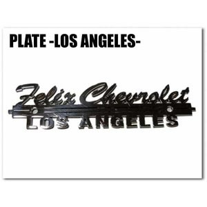 プレート -FELIX CHEVROLET LOS ANGELES-(穴あきタイプ)ローライダー カーアクセサリー フィリックスシボレーロサンゼルス LAカスタムパーツプラーク|aicamu