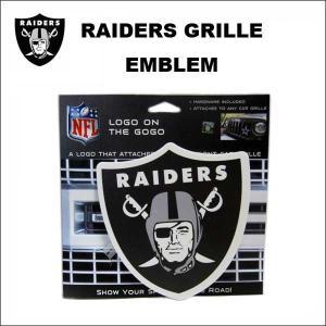 RAIDERS グリルエンブレム 車のグリルに簡単取り付け カーアクセサリー NFL ロサンゼルス オークランド レイダース グッズ ネコポス発送可能|aicamu