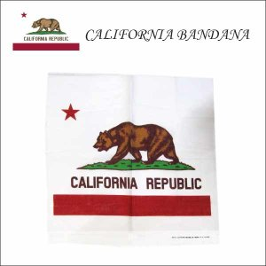 カリフォルニア州旗柄バンダナ アメリカ直輸入CALIFORNIA FLAG BANDANA 国旗柄アメリカン雑貨 ネコポス発送可能|aicamu