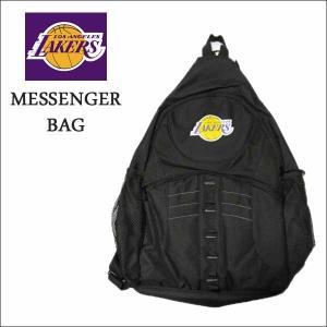 レイカーズ メッセンジャーバッグ(フロントジップポケット)NBA LAKERS公グッズ斜め掛けカバン リュック バックパック|aicamu